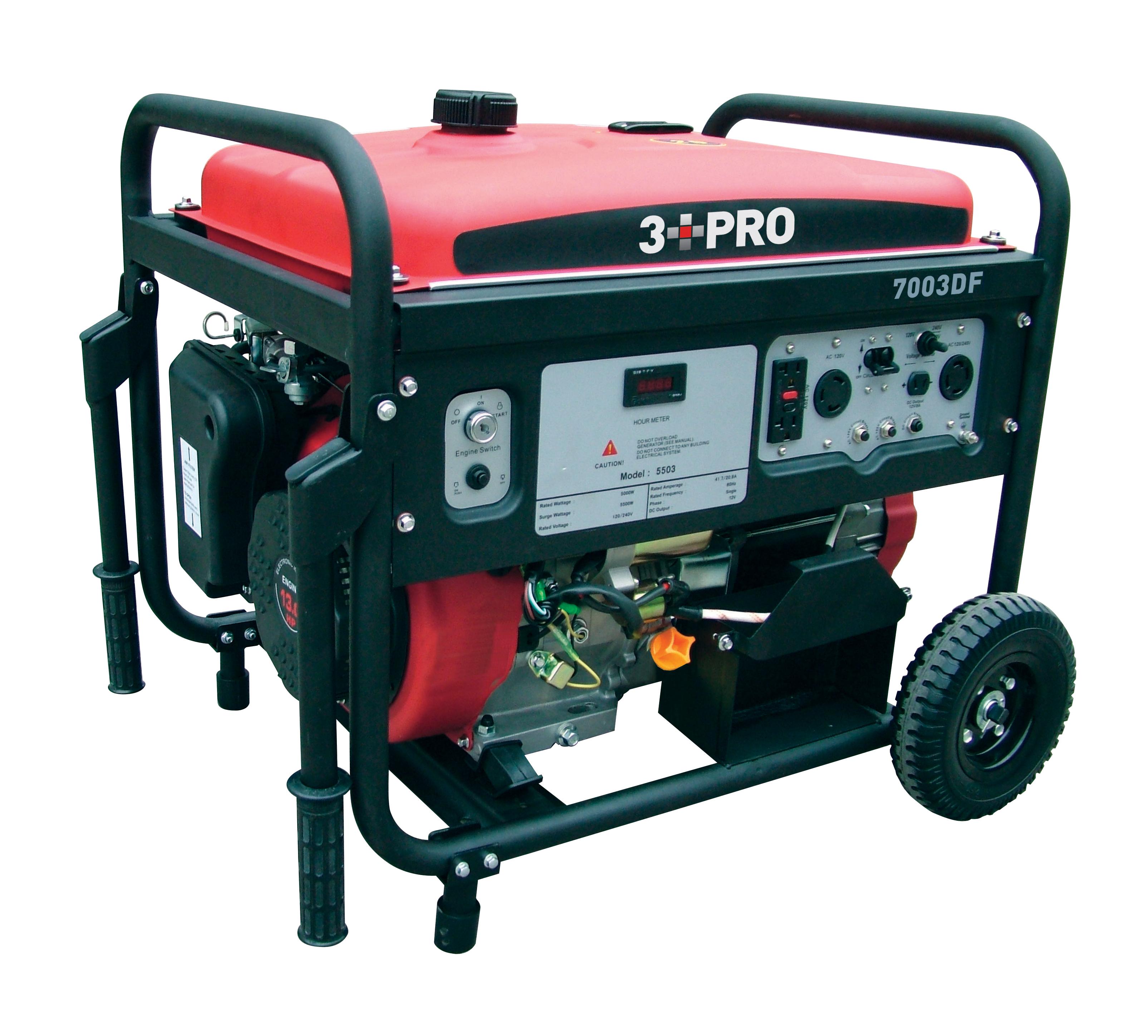 3 Pro Portable Dual Fuel Generator 7000 Watt LP Gas CARB