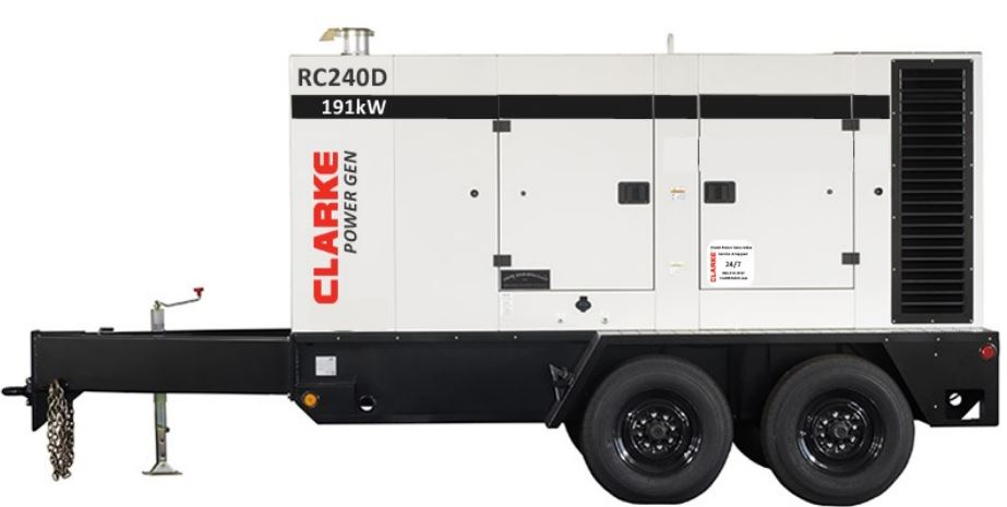 Clarke Power Generation Mobile Prime Diesel Generator - 175-210 kW- RC240D-T3 | Absolute Generators