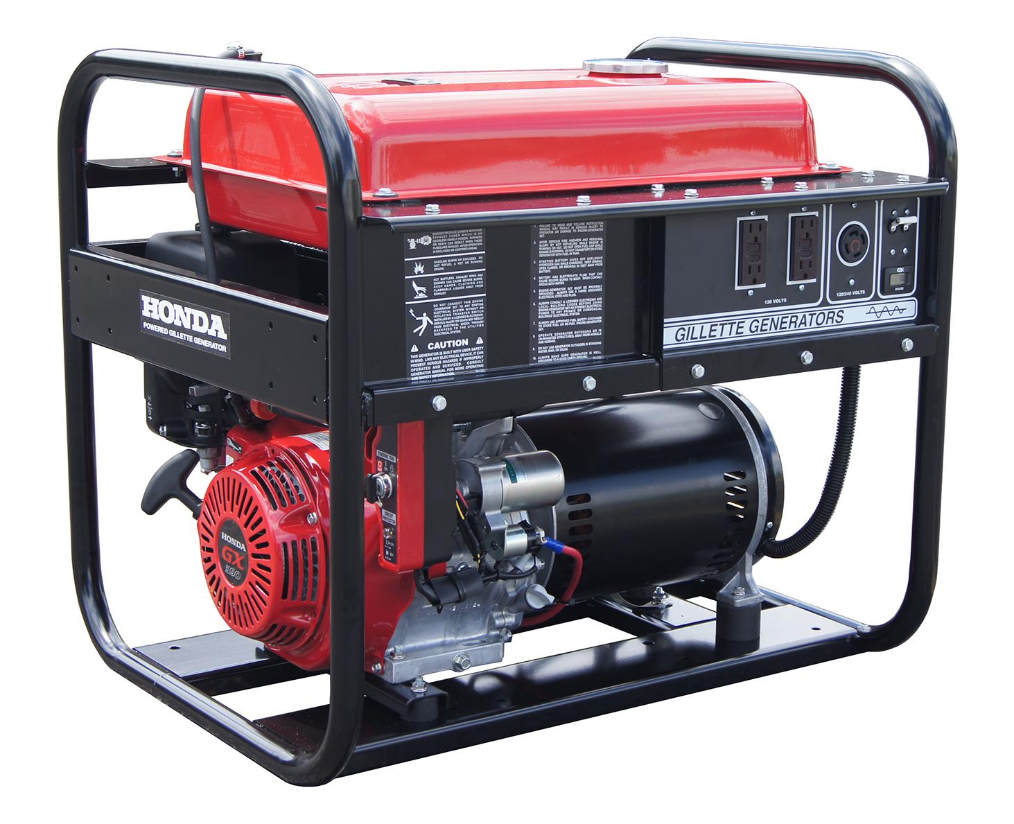 Gillette Portable Gasoline Generator - GPE-75EH, 6500 Watts, 13 HP, Honda
