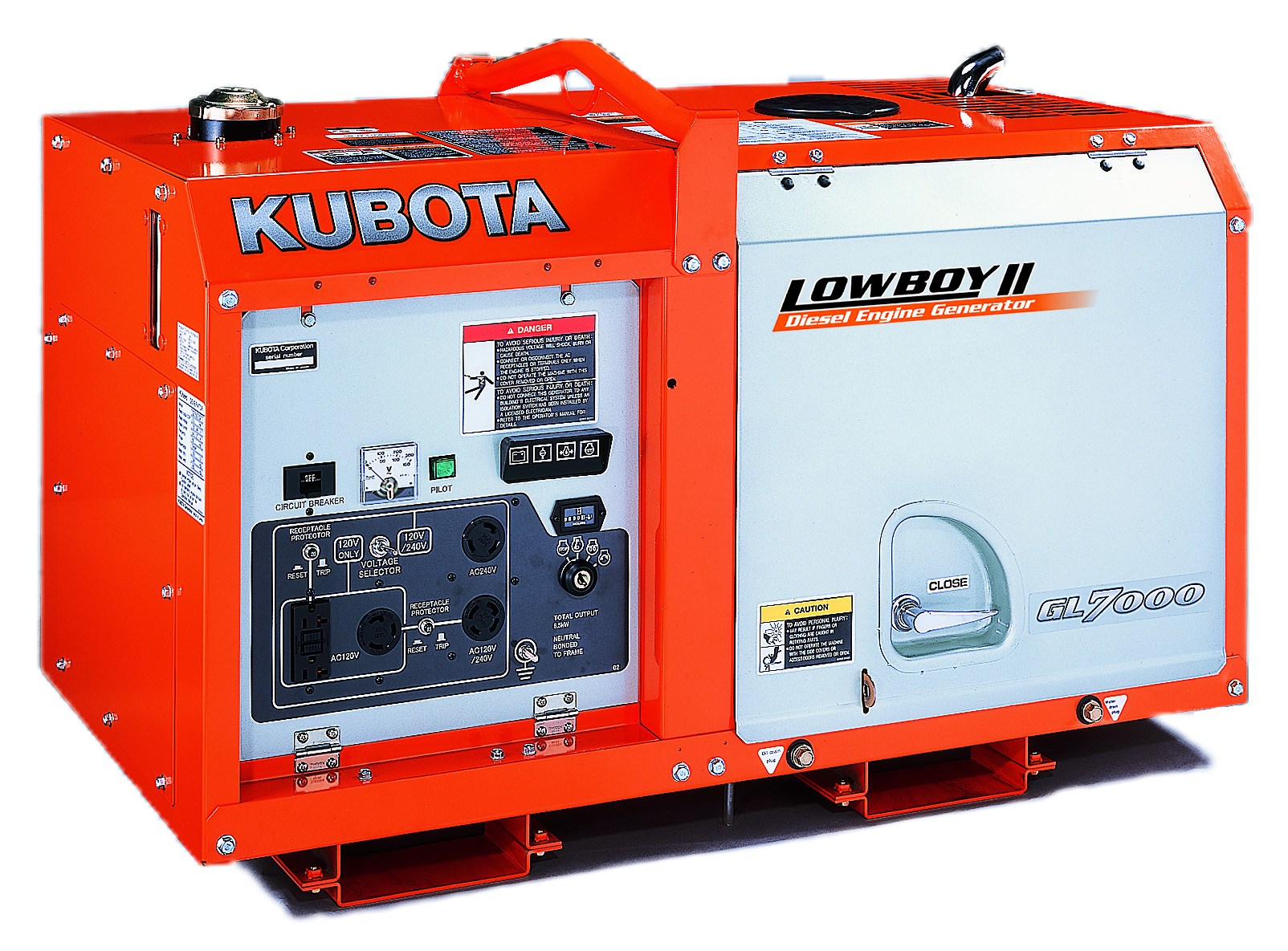 Kubota Lowboy Ii Compact Quiet Diesel Generator Gl7000 Absolute 120 240v Wiring Diagram 7 Kw Standby 65 Prime Single Phase 240 Volt Liquid Cooled