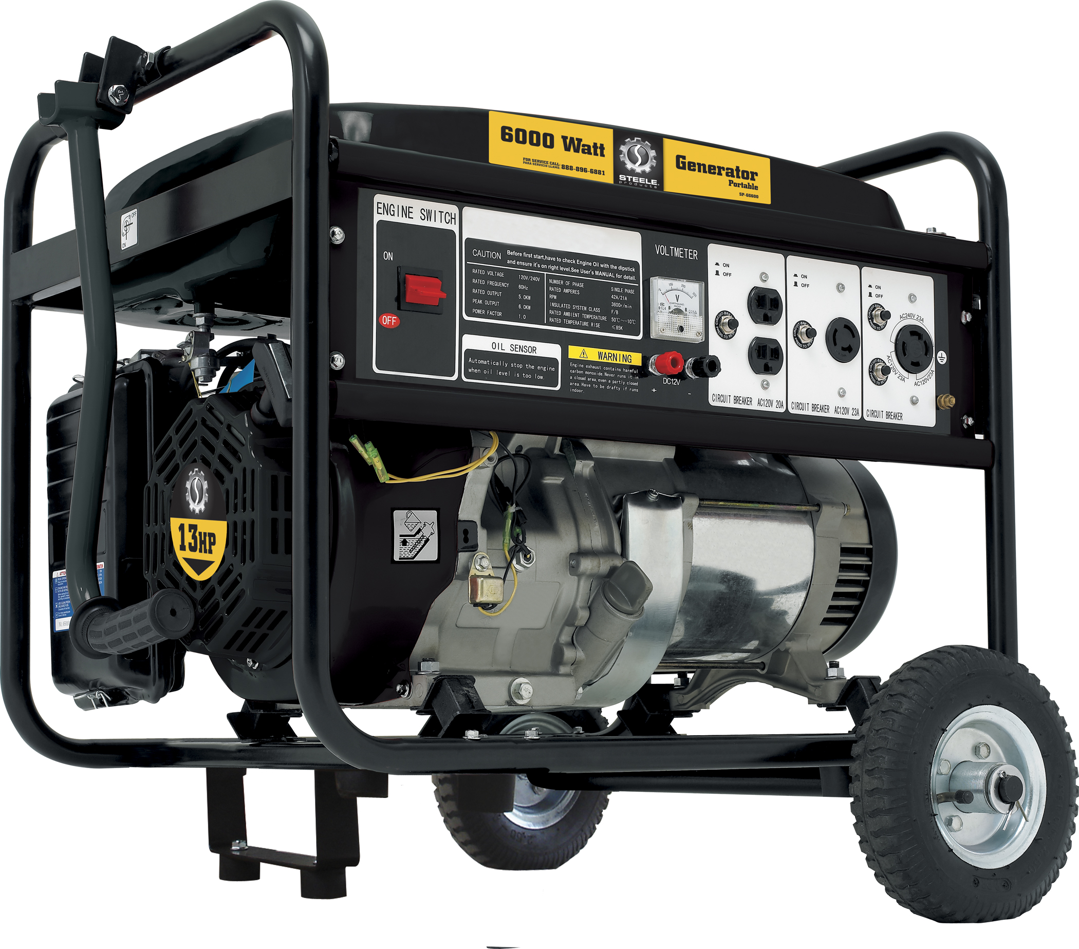 Steele Products Portable Generator Sp Gg600n 6000 Watt Gas Also 220 Volt Welder To Adapter On Cord Wiring