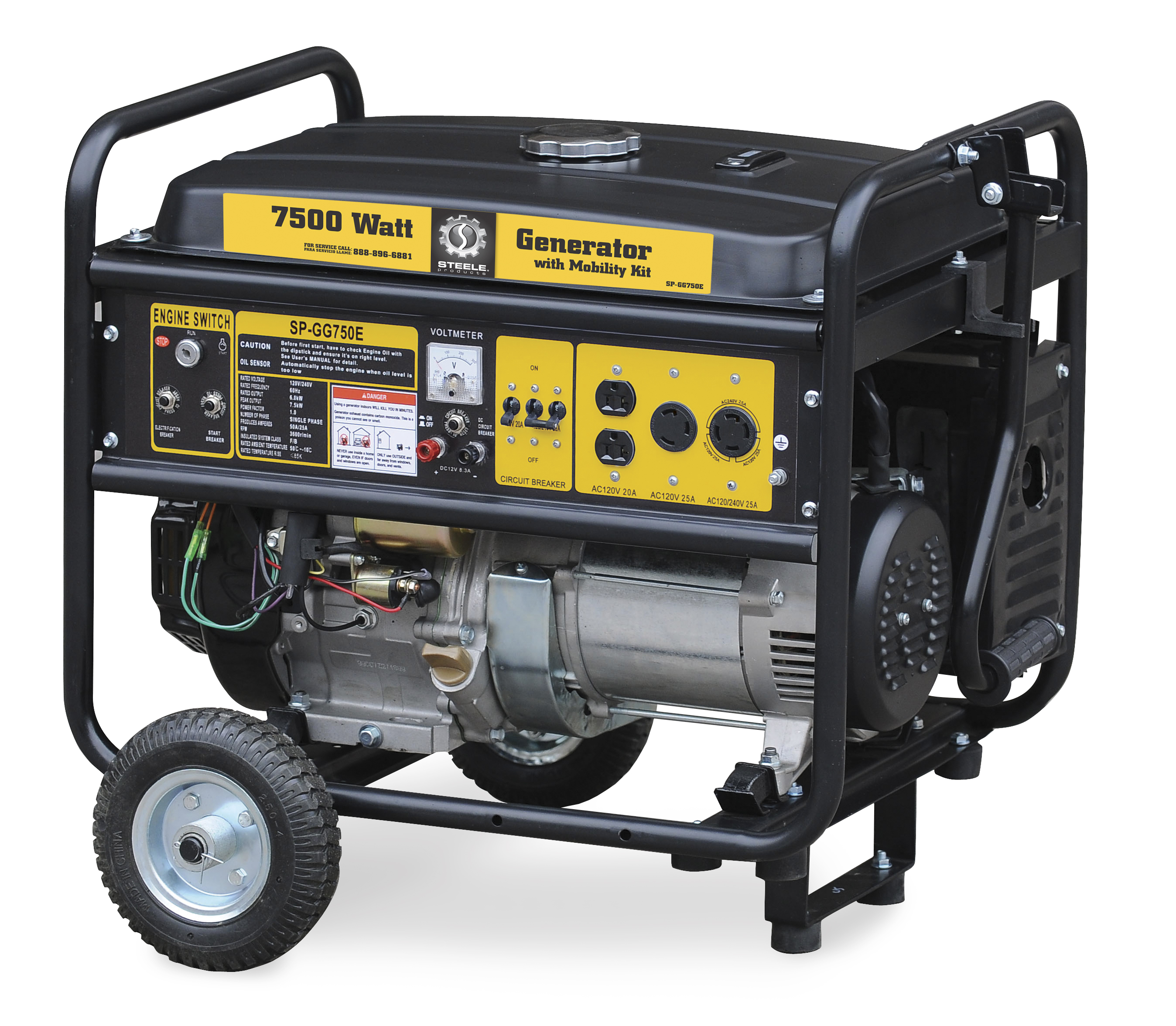 Steele Products Portable Generator 7500 Watts Electric Start Kw 50 Amp Single Phase 120 240 V Standby With 10 Circuit
