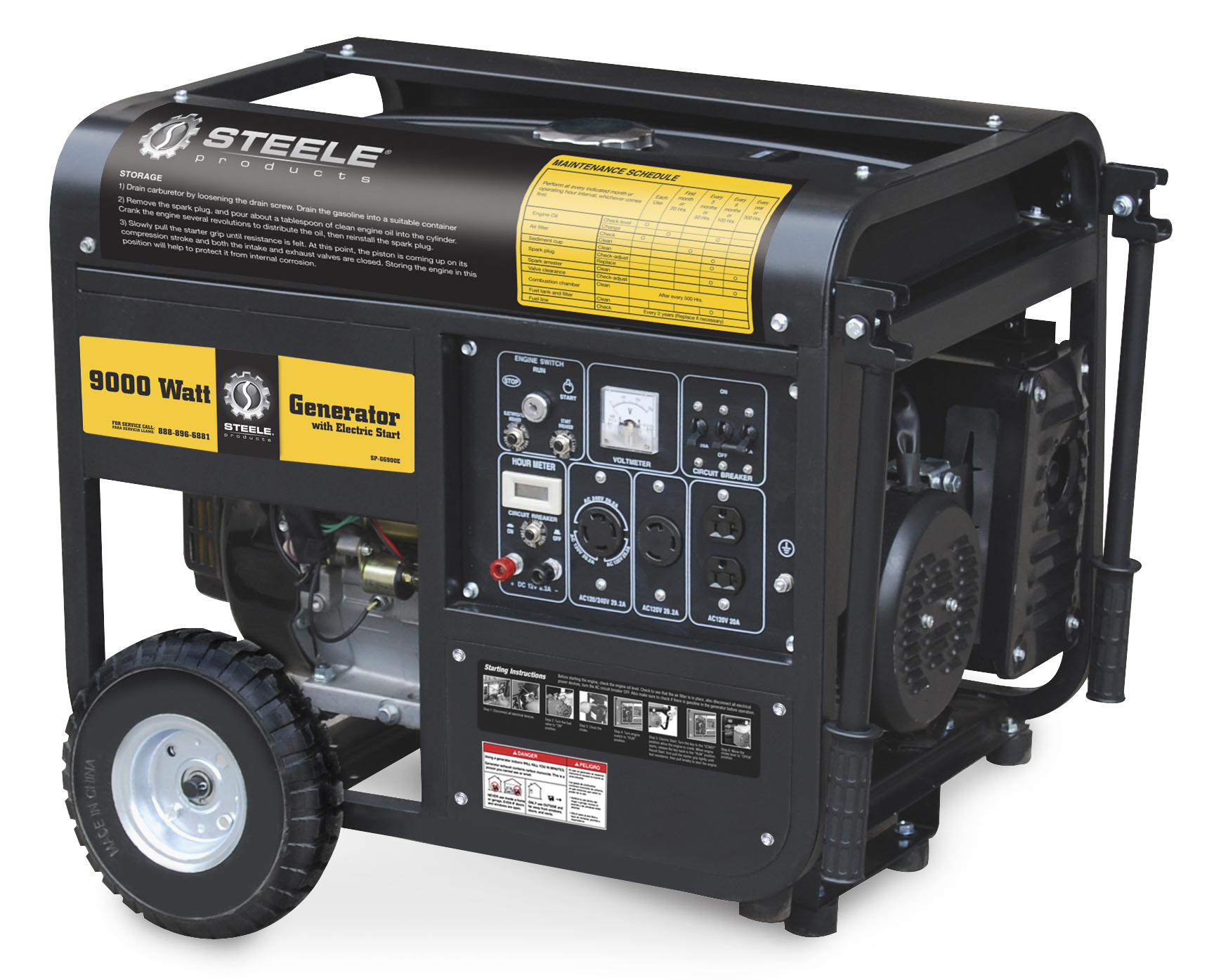 Steele Products Portable Generator 9000 Watts Electric Start