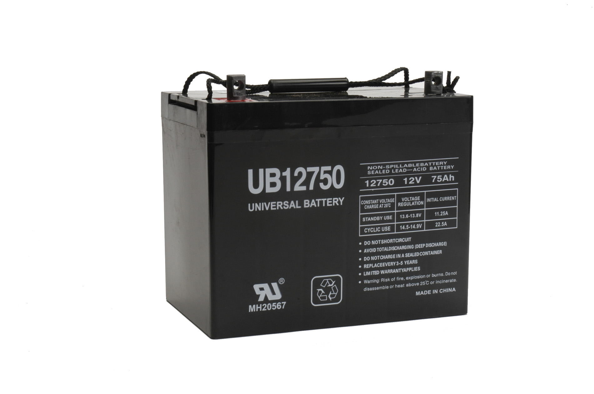 UPG UB Generator Battery 12 Volt 75 Ah AGM Sealed 433 CCA